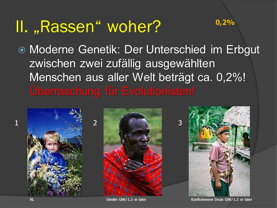  Moderne Genetik: Der Unterschied im Erbgut zwischen zwei zufällig ausgewählten Menschen aus aller Welt beträgt ca. 0,2%! Überraschung für Evolutioni