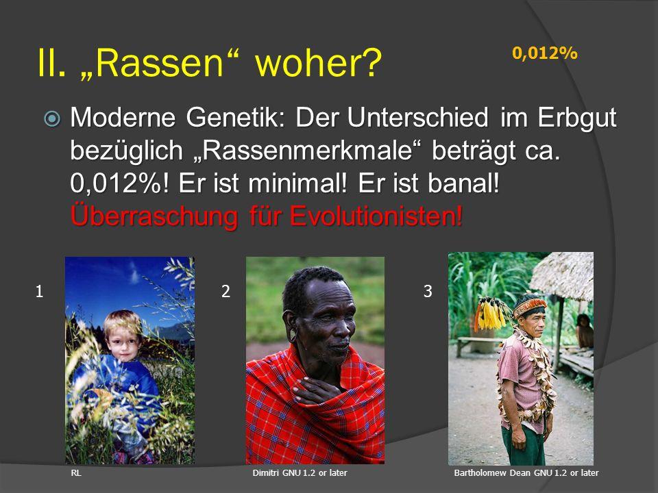 """ Moderne Genetik: Der Unterschied im Erbgut bezüglich """"Rassenmerkmale"""" beträgt ca. 0,012%! Er ist minimal! Er ist banal! Überraschung für Evolutionis"""