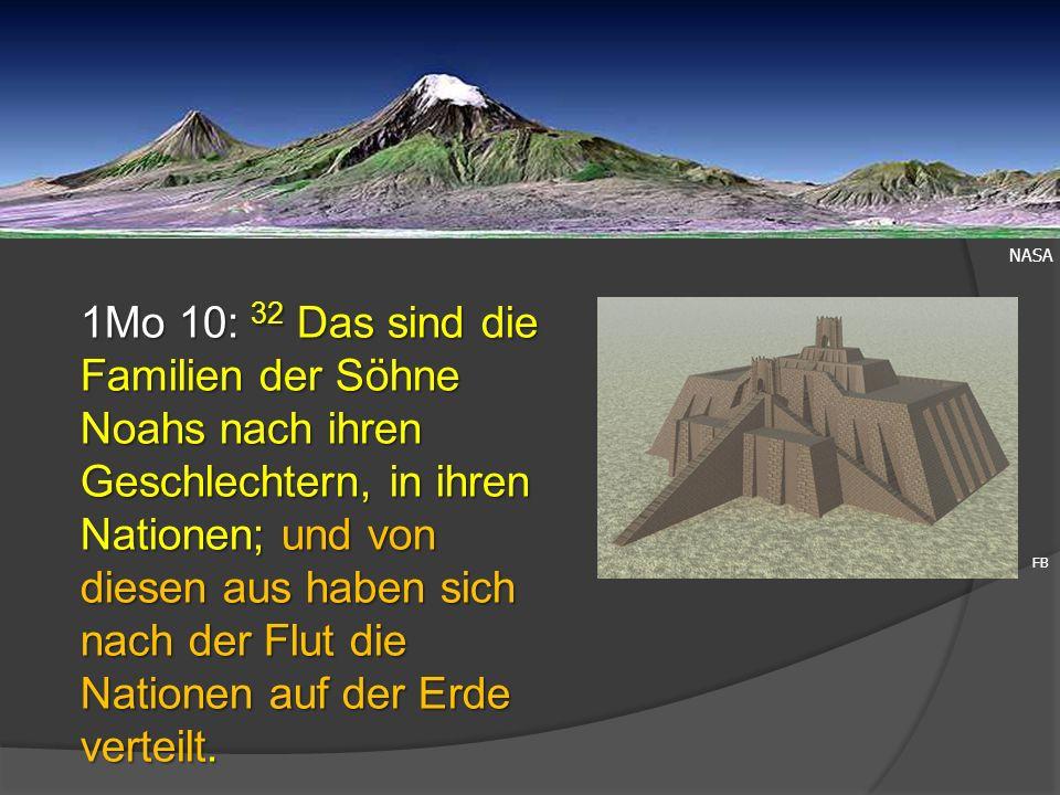 NASA 1Mo 10: 32 Das sind die Familien der Söhne Noahs nach ihren Geschlechtern, in ihren Nationen; und von diesen aus haben sich nach der Flut die Nat