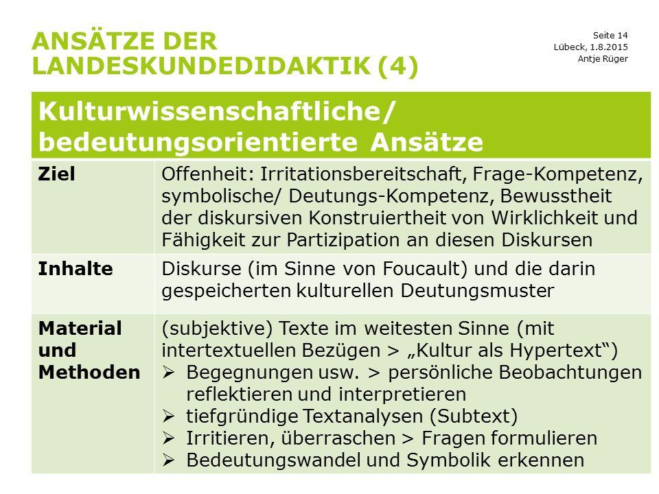 Seite 14 ANSÄTZE DER LANDESKUNDEDIDAKTIK (4) Lübeck, 1.8.2015 Kulturwissenschaftliche/ bedeutungsorientierte Ansätze ZielOffenheit: Irritationsbereits