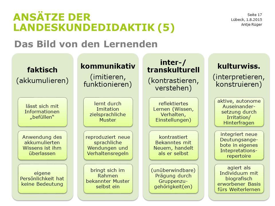 """Seite 17 ANSÄTZE DER LANDESKUNDEDIDAKTIK (5) Das Bild von den Lernenden Lübeck, 1.8.2015 faktisch (akkumulieren) lässt sich mit Informationen """"befülle"""