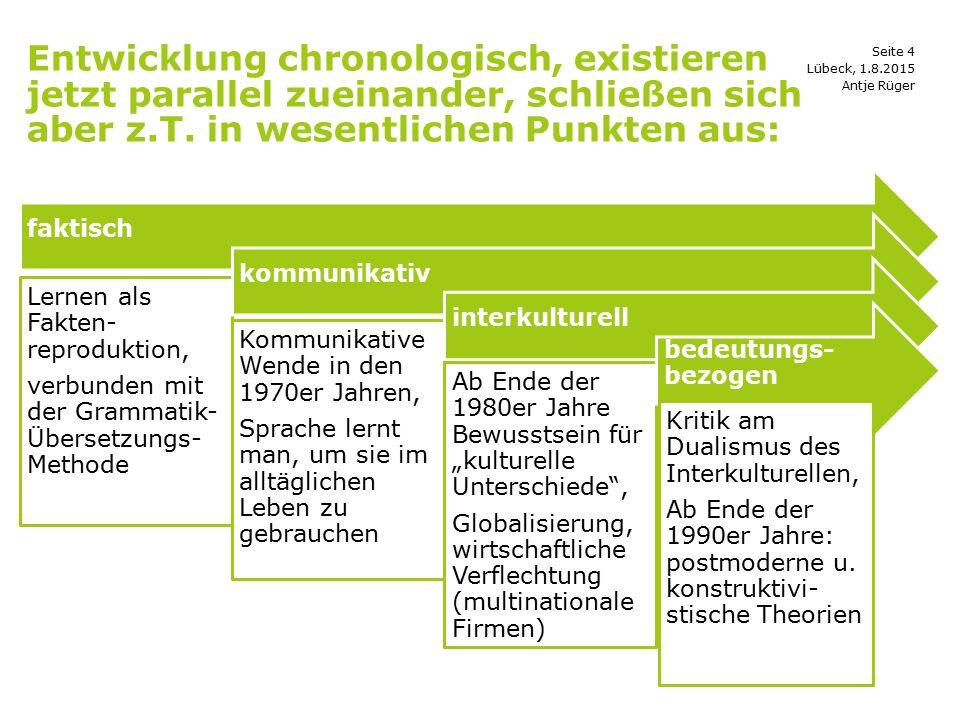 Seite 4 Entwicklung chronologisch, existieren jetzt parallel zueinander, schließen sich aber z.T. in wesentlichen Punkten aus: Antje Rüger Lübeck, 1.8