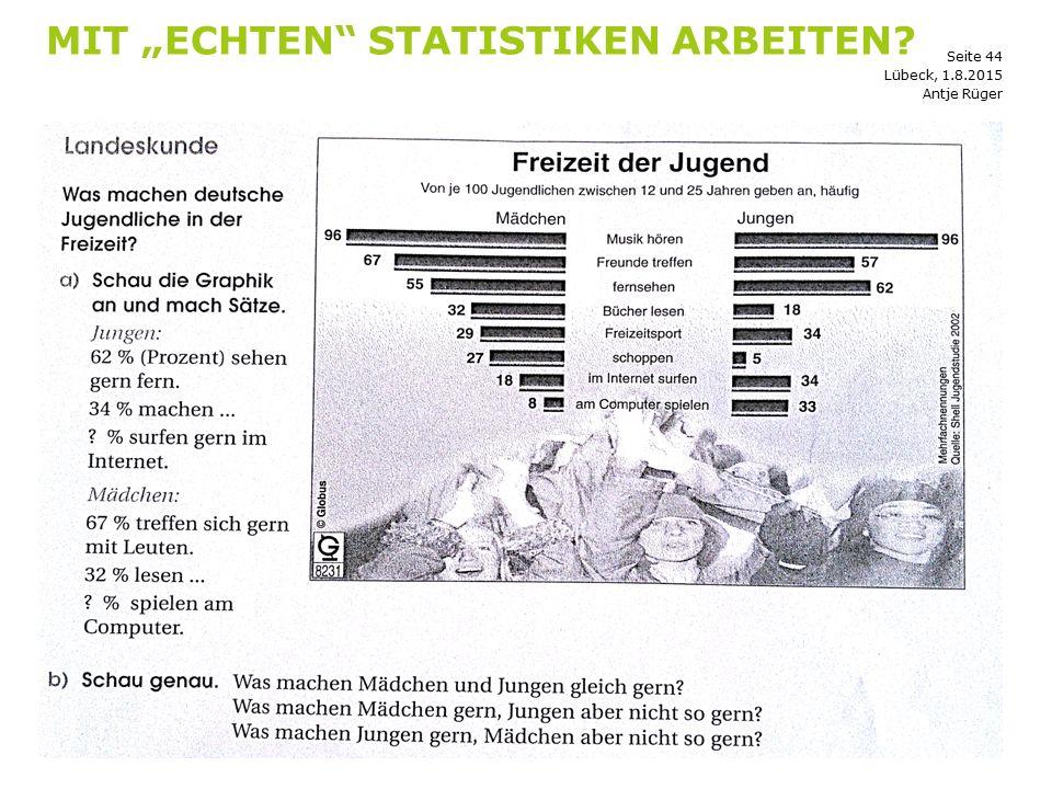 """Seite 44 MIT """"ECHTEN"""" STATISTIKEN ARBEITEN? Antje Rüger Lübeck, 1.8.2015"""