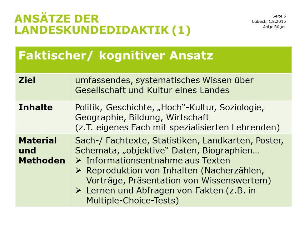 Seite 5 ANSÄTZE DER LANDESKUNDEDIDAKTIK (1) Lübeck, 1.8.2015 Faktischer/ kognitiver Ansatz Zielumfassendes, systematisches Wissen über Gesellschaft un