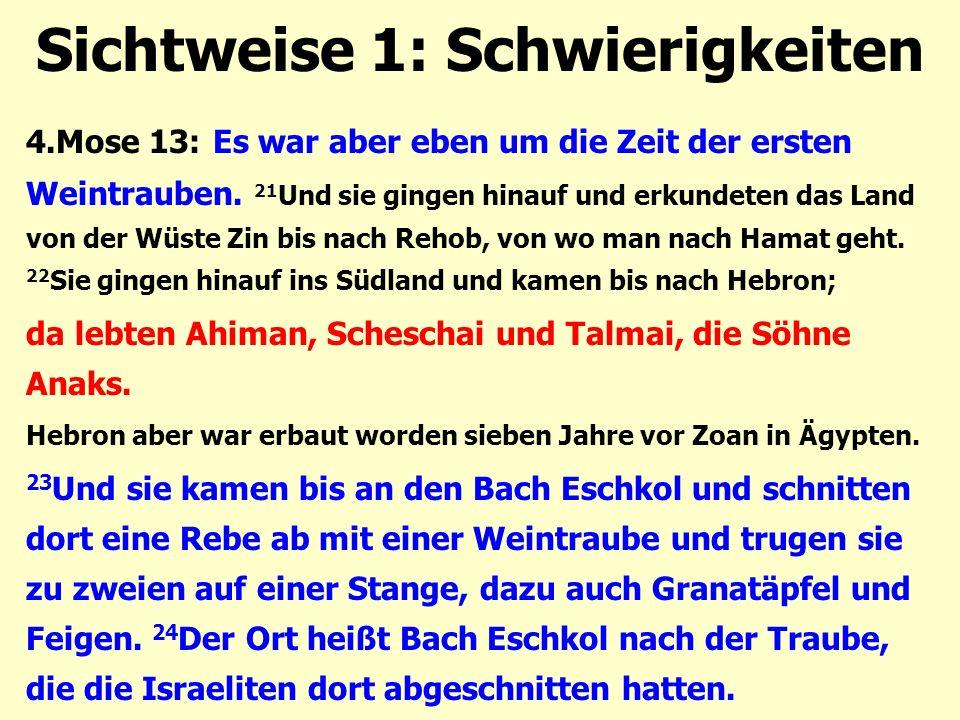 Sichtweise 1: Schwierigkeiten 4.Mose 13: Es war aber eben um die Zeit der ersten Weintrauben. 21 Und sie gingen hinauf und erkundeten das Land von der