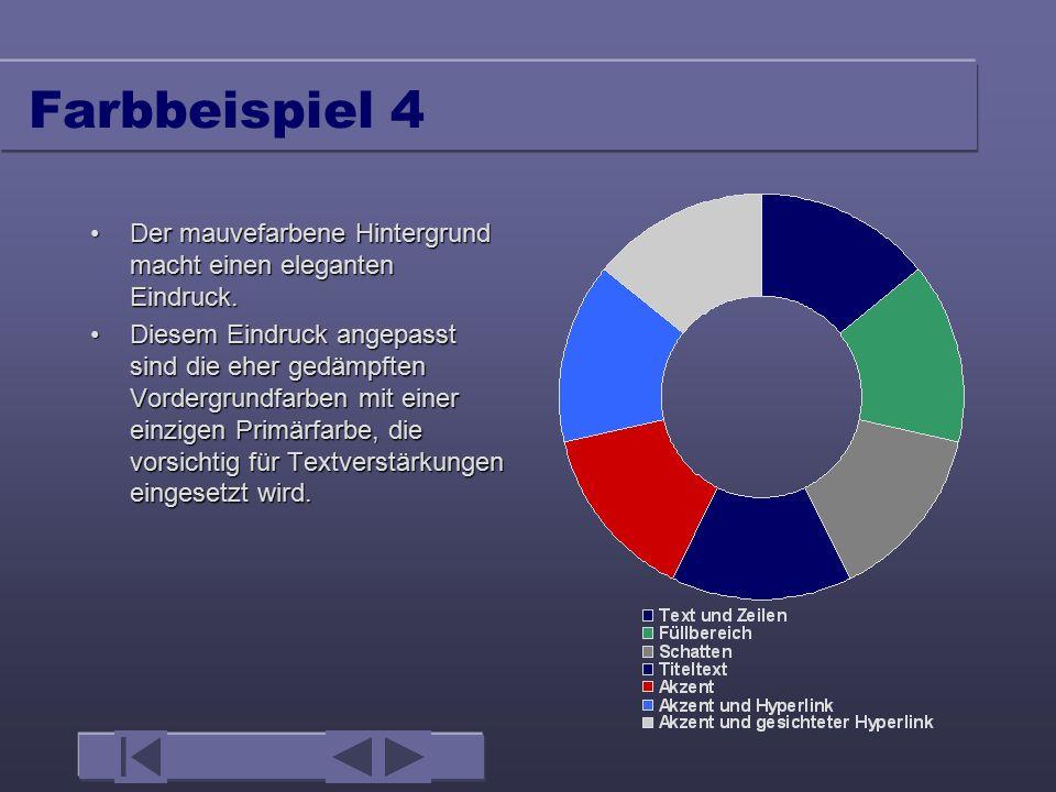 Farbbeispiel 3 Ganz grüne Hintergründe wirken oft zu lebhaft und könnten Ihr Publikum irritieren.Ganz grüne Hintergründe wirken oft zu lebhaft und könnten Ihr Publikum irritieren.