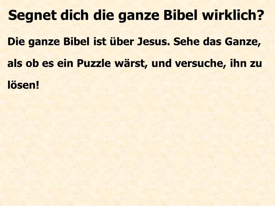 Die ganze Bibel ist über Jesus. Sehe das Ganze, als ob es ein Puzzle wärst, und versuche, ihn zu lösen! Segnet dich die ganze Bibel wirklich?