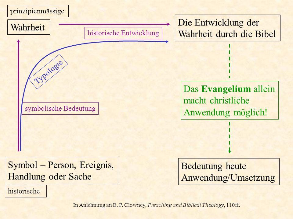 symbolische Bedeutung Die Entwicklung der Wahrheit durch die Bibel historische Entwicklung In Anlehnung an E. P. Clowney, Preaching and Biblical Theol