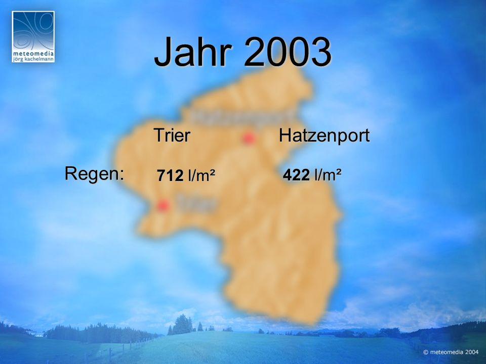 Jahr 2003 Regen: HatzenportTrier 422 l/m² 712 l/m²