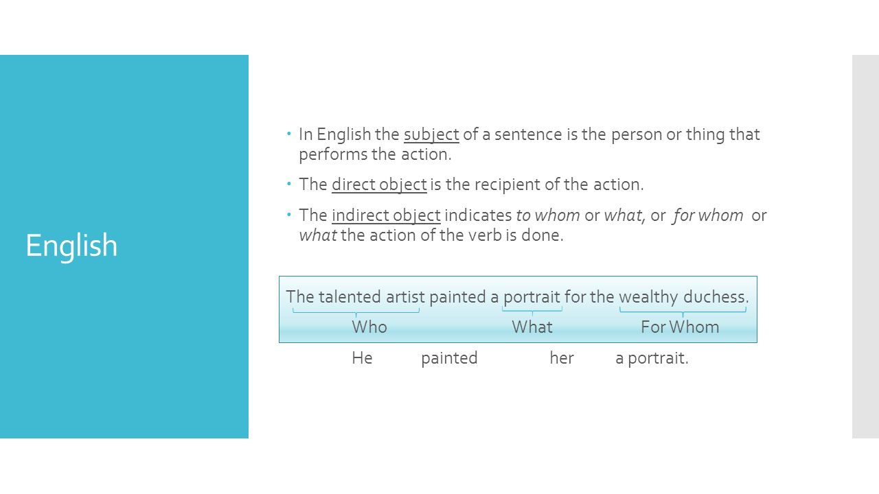 English  In English the subject of a sentence is the person or thing that performs the action.