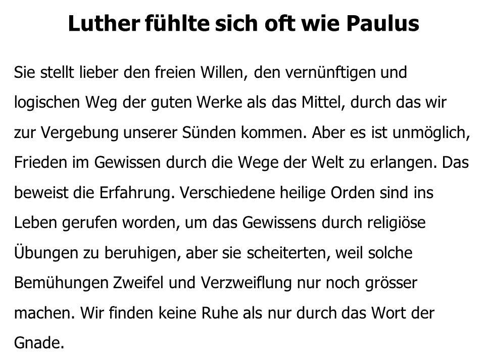 Luther fühlte sich oft wie Paulus Sie stellt lieber den freien Willen, den vernünftigen und logischen Weg der guten Werke als das Mittel, durch das wi
