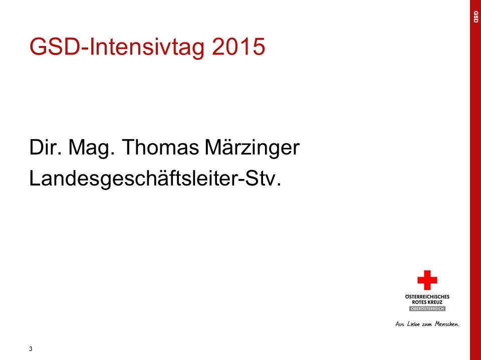 3 GSD-Intensivtag 2015 Dir. Mag. Thomas Märzinger Landesgeschäftsleiter-Stv. GSD 3