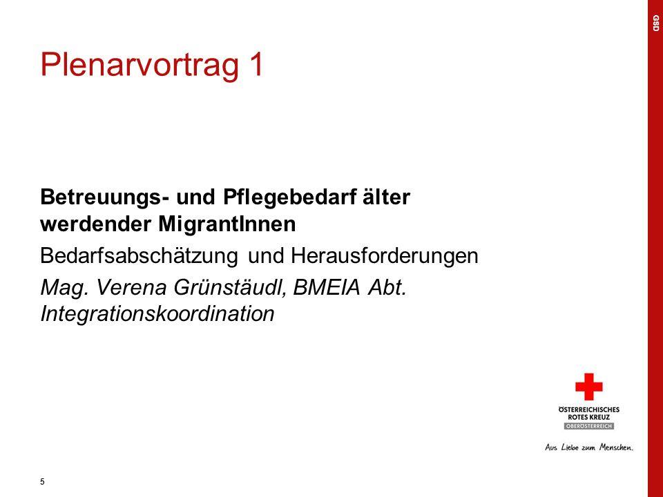 5 Plenarvortrag 1 Betreuungs- und Pflegebedarf älter werdender MigrantInnen Bedarfsabschätzung und Herausforderungen Mag.