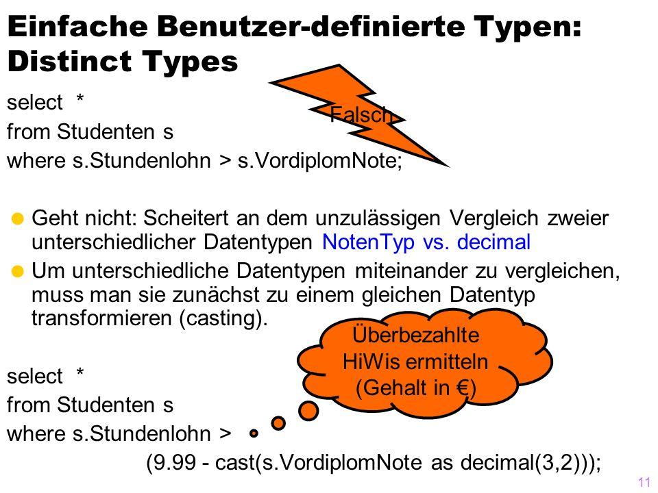 11 Einfache Benutzer-definierte Typen: Distinct Types select * from Studenten s where s.Stundenlohn > s.VordiplomNote;  Geht nicht: Scheitert an dem unzulässigen Vergleich zweier unterschiedlicher Datentypen NotenTyp vs.