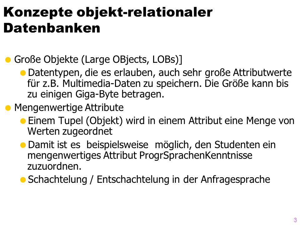 34 Generalisierung/Spezialisierung INSERT INTO Assistenten (Oid, PersNr, Name, Fachgebiet, Boss) VALUES(Assistenten_t( a ), 3003, Aristoteles , Syllogistik , Professoren_t( s )); INSERT INTO Assistenten (Oid, PersNr, Name, Fachgebiet, Boss) VALUES(Assistenten_t( w ), 3004, Wittgenstein , Sprachtheorie , Professoren_t( r )); select a.name, a.PersNr from Angestellte a; select * from Assistenten; select a.Name, a.Boss->Name, a.Boss->wieHart() as Güte from Assistenten a;