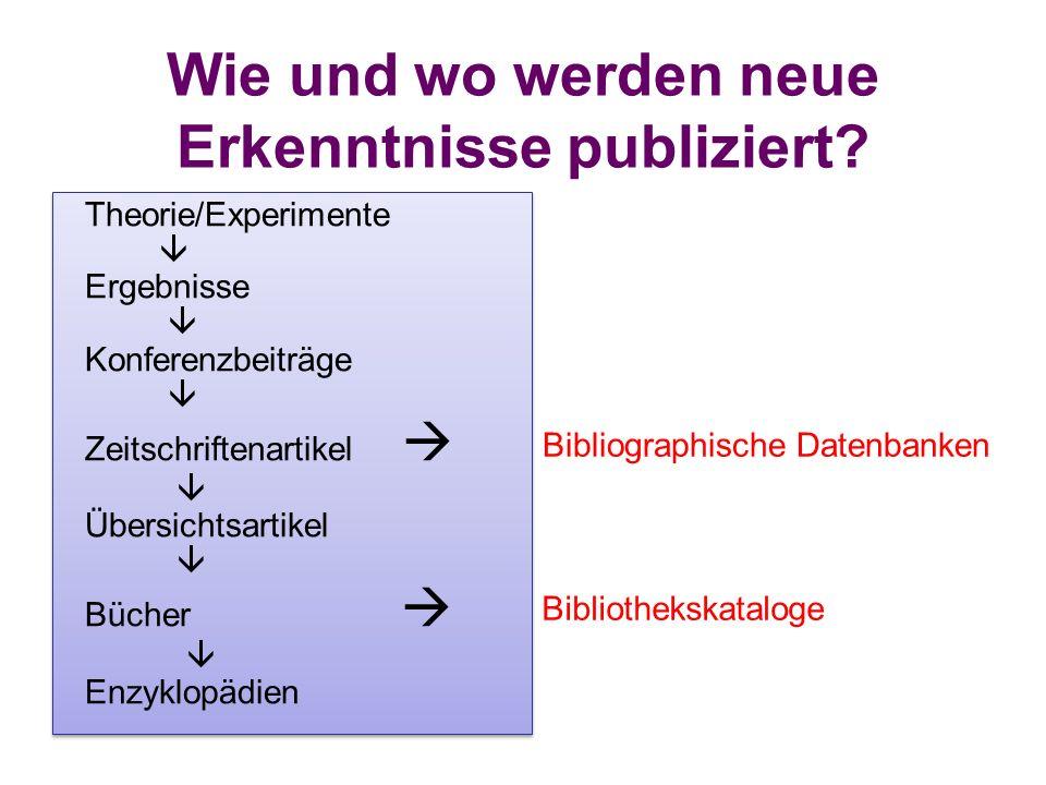 Wie und wo werden neue Erkenntnisse publiziert? Theorie/Experimente  Ergebnisse  Konferenzbeiträge  Zeitschriftenartikel   Übersichtsartikel  Bü