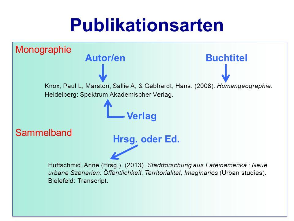 Publikationsarten Monographie Knox, Paul L, Marston, Sallie A, & Gebhardt, Hans. (2008). Humangeographie. Heidelberg: Spektrum Akademischer Verlag. Sa