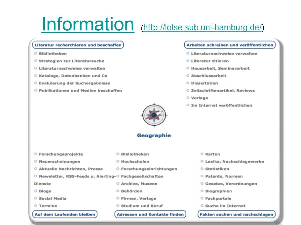 InformationInformation ( http://lotse.sub.uni-hamburg.de/) http://lotse.sub.uni-hamburg.de/