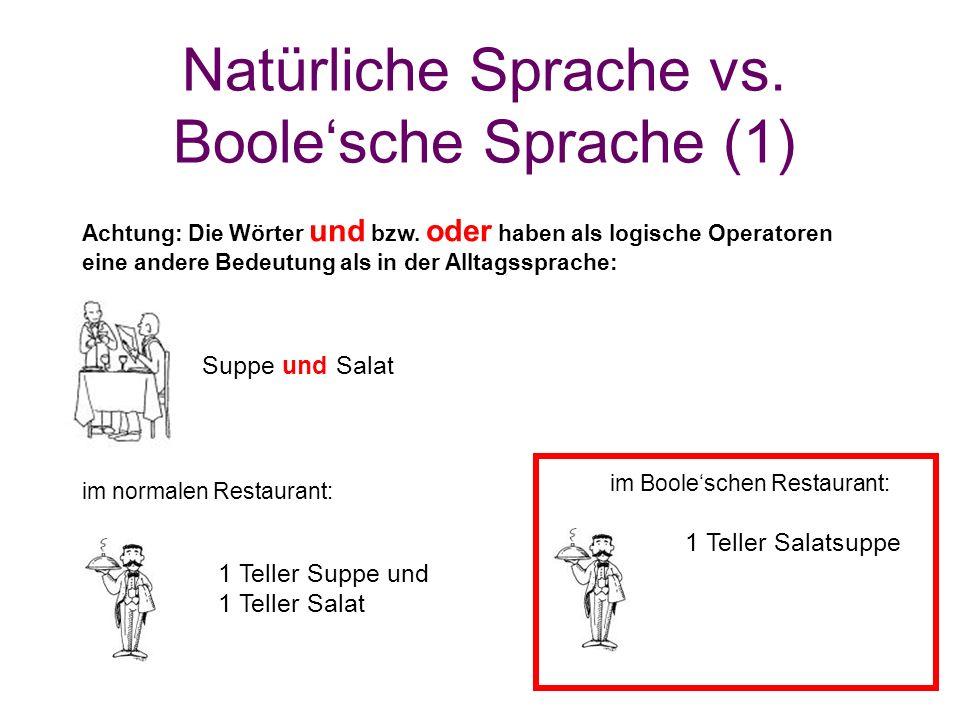 Natürliche Sprache vs. Boole'sche Sprache (1) im Boole'schen Restaurant: Suppe und Salat 1 Teller Suppe und 1 Teller Salat Achtung: Die Wörter und bzw