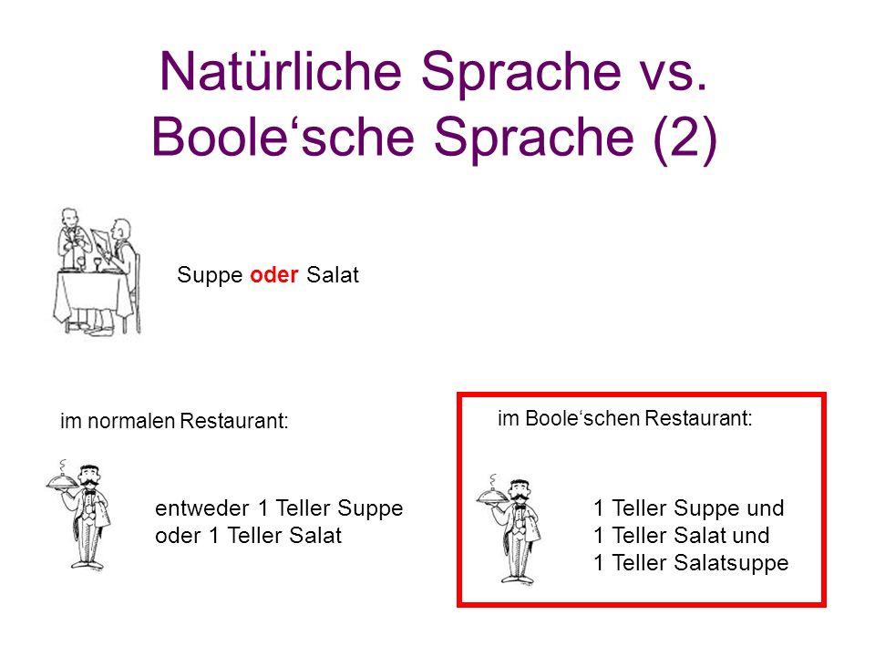 Natürliche Sprache vs. Boole'sche Sprache (2) im Boole'schen Restaurant: Suppe oder Salat entweder 1 Teller Suppe oder 1 Teller Salat 1 Teller Suppe u