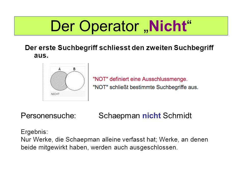 """Der Operator """"Nicht"""" Personensuche: Schaepman nicht Schmidt Ergebnis: Nur Werke, die Schaepman alleine verfasst hat; Werke, an denen beide mitgewirkt"""