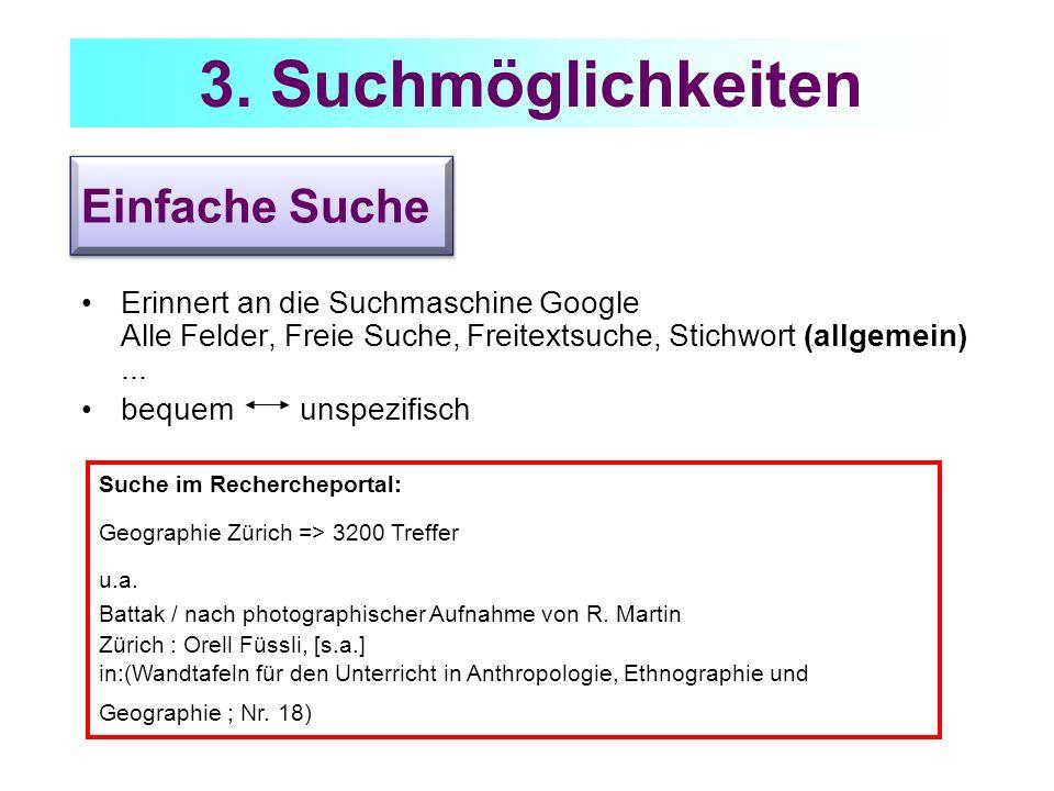 Einfache Suche Erinnert an die Suchmaschine Google Alle Felder, Freie Suche, Freitextsuche, Stichwort (allgemein)... bequem unspezifisch Suche im Rech
