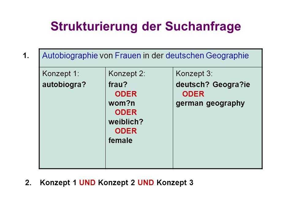 Strukturierung der Suchanfrage Autobiographie von Frauen in der deutschen Geographie Konzept 1: autobiogra? Konzept 2: frau? ODER wom?n ODER weiblich?