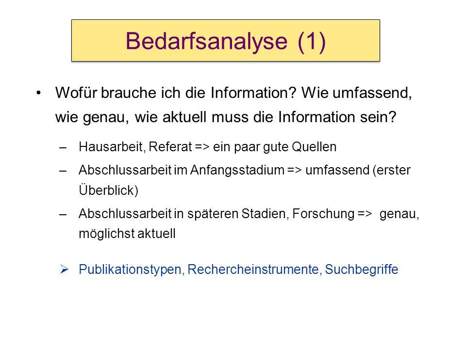 Wofür brauche ich die Information? Wie umfassend, wie genau, wie aktuell muss die Information sein? –Hausarbeit, Referat => ein paar gute Quellen –Abs