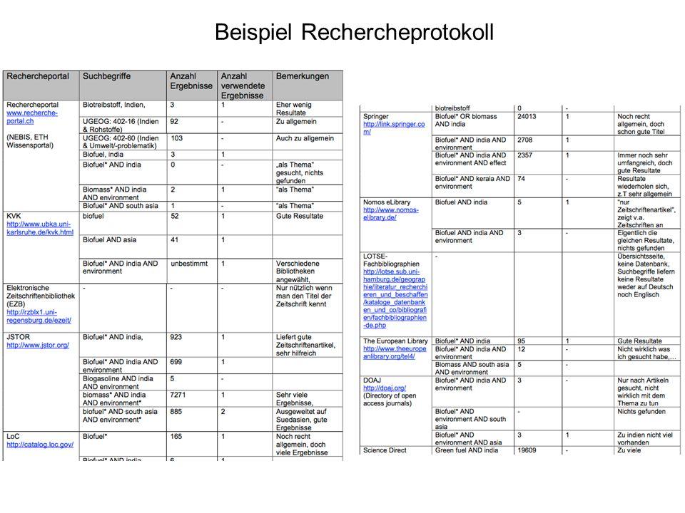 Beispiel Rechercheprotokoll