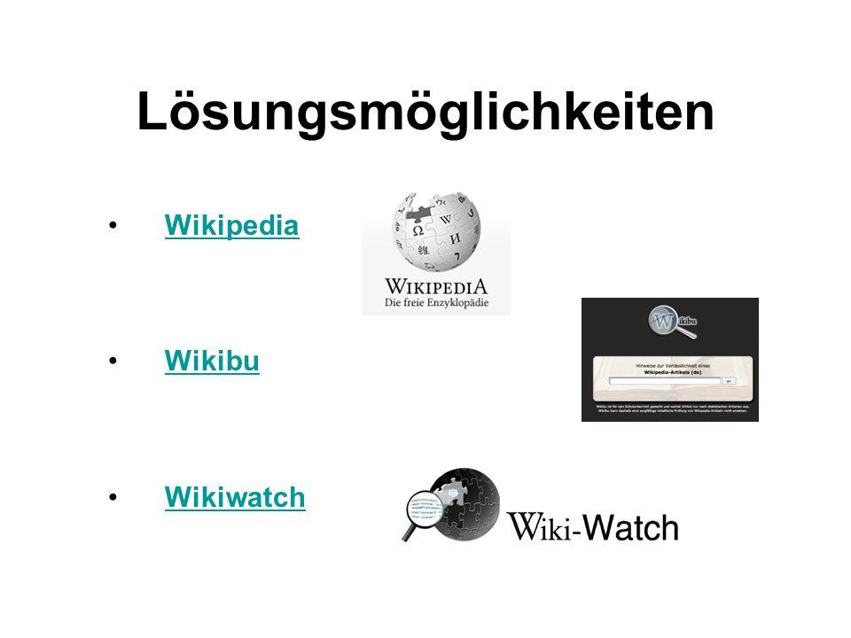 Lösungsmöglichkeiten Wikipedia Wikibu Wikiwatch
