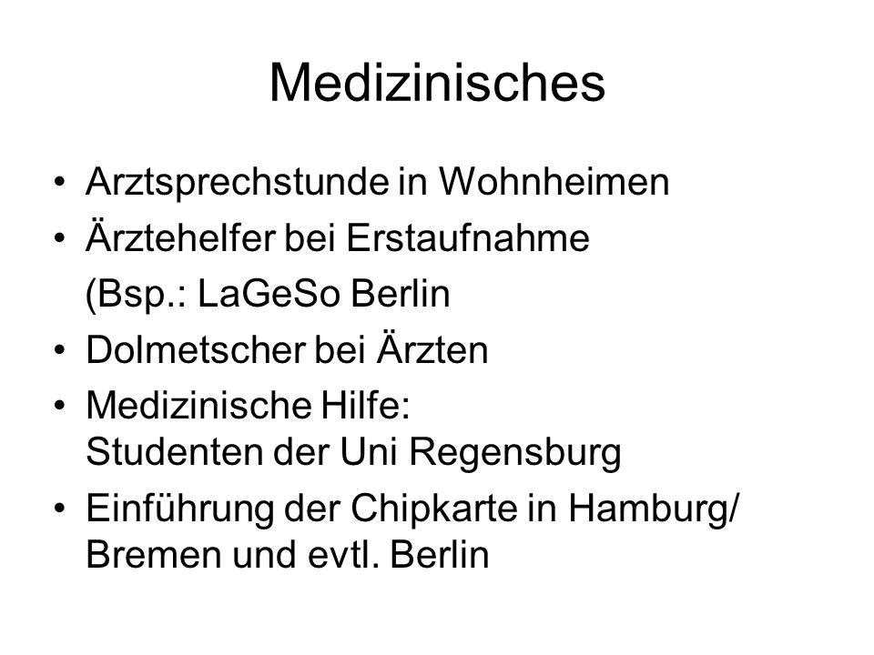 Medizinisches Arztsprechstunde in Wohnheimen Ärztehelfer bei Erstaufnahme (Bsp.: LaGeSo Berlin Dolmetscher bei Ärzten Medizinische Hilfe: Studenten de