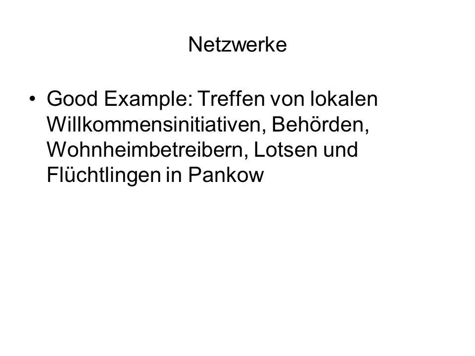 Netzwerke Good Example: Treffen von lokalen Willkommensinitiativen, Behörden, Wohnheimbetreibern, Lotsen und Flüchtlingen in Pankow