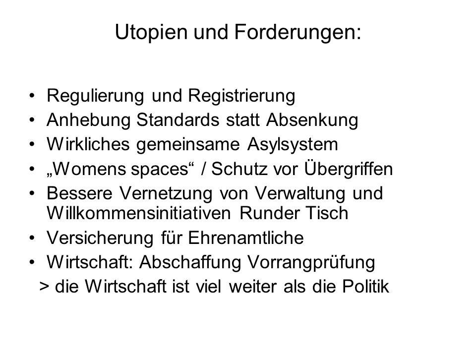 """Utopien und Forderungen: Regulierung und Registrierung Anhebung Standards statt Absenkung Wirkliches gemeinsame Asylsystem """"Womens spaces"""" / Schutz vo"""