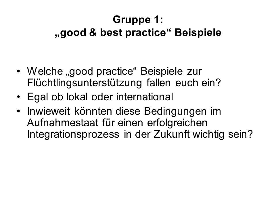 """Gruppe 1: """"good & best practice"""" Beispiele Welche """"good practice"""" Beispiele zur Flüchtlingsunterstützung fallen euch ein? Egal ob lokal oder internati"""