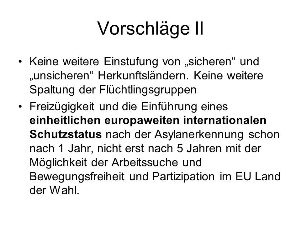 """Vorschläge II Keine weitere Einstufung von """"sicheren und """"unsicheren Herkunftsländern."""