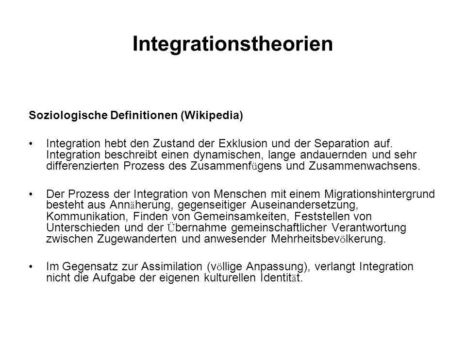 Integrationstheorien Soziologische Definitionen (Wikipedia) Integration hebt den Zustand der Exklusion und der Separation auf. Integration beschreibt
