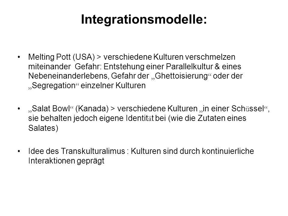 Integrationsmodelle: Melting Pott (USA) > verschiedene Kulturen verschmelzen miteinander Gefahr: Entstehung einer Parallelkultur & eines Nebeneinander