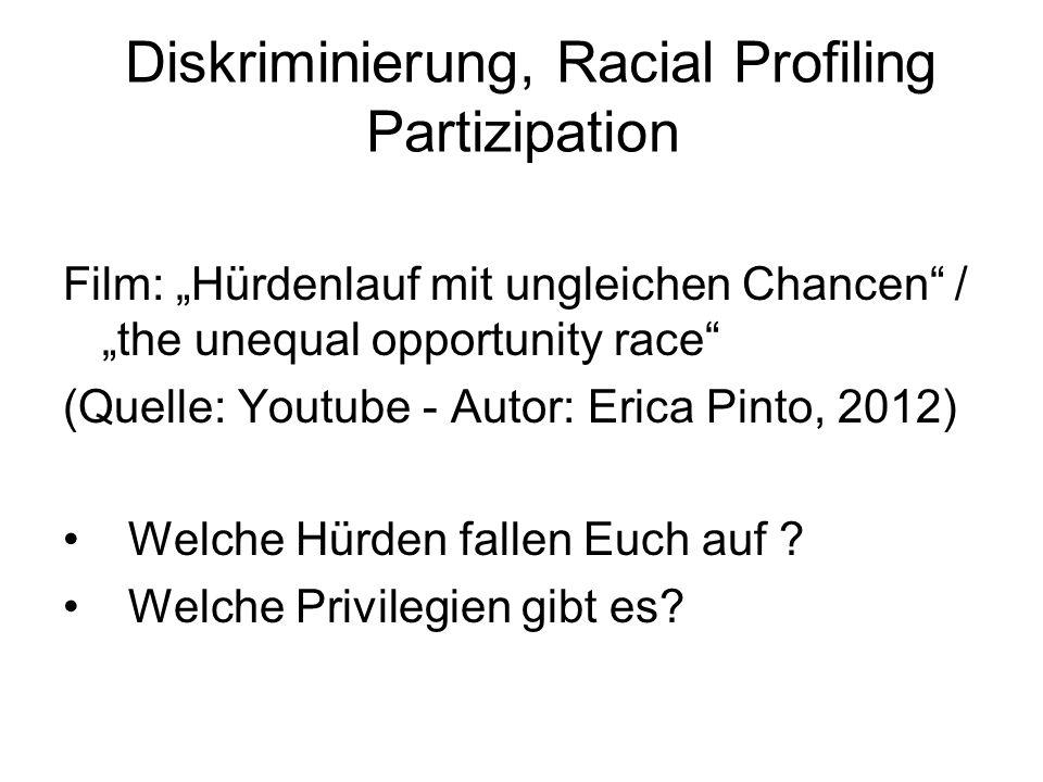 "Diskriminierung, Racial Profiling Partizipation Film: ""Hürdenlauf mit ungleichen Chancen / ""the unequal opportunity race (Quelle: Youtube - Autor: Erica Pinto, 2012) Welche Hürden fallen Euch auf ."