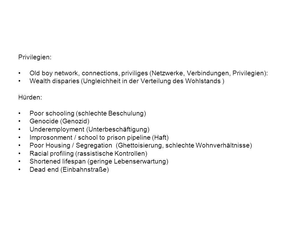 Privilegien: Old boy network, connections, priviliges (Netzwerke, Verbindungen, Privilegien): Wealth disparies (Ungleichheit in der Verteilung des Wohlstands ) Hürden: Poor schooling (schlechte Beschulung) Genocide (Genozid) Underemployment (Unterbeschäftigung) Improsonment / school to prison pipeline (Haft) Poor Housing / Segregation (Ghettoisierung, schlechte Wohnverhältnisse) Racial profiling (rassistische Kontrollen) Shortened lifespan (geringe Lebenserwartung) Dead end (Einbahnstraße)