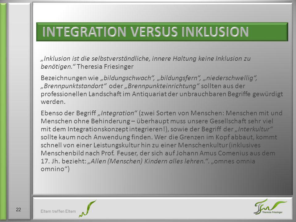 """""""Inklusion ist die selbstverständliche, innere Haltung keine Inklusion zu benötigen."""" Theresia Friesinger Bezeichnungen wie """"bildungschwach"""", """"bildung"""