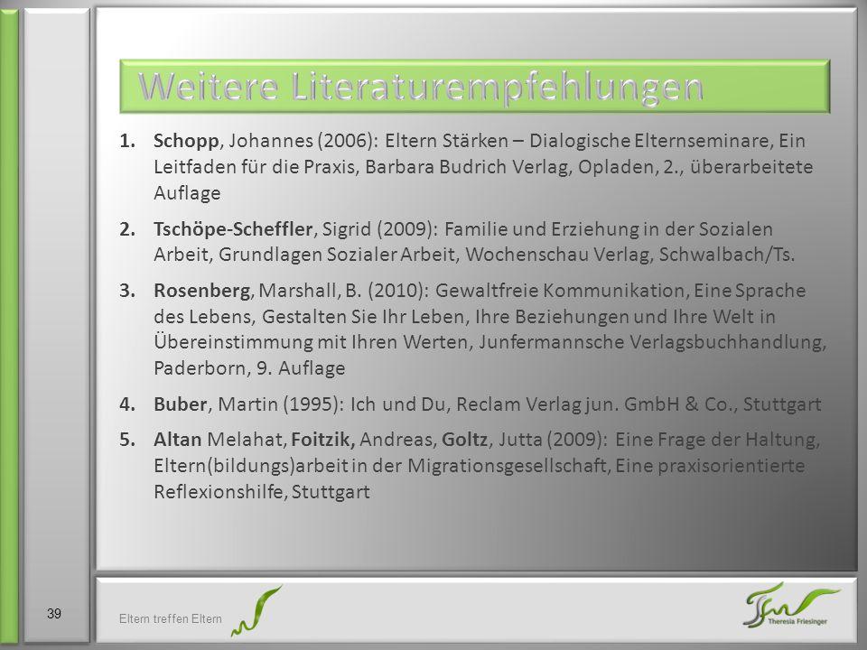1.Schopp, Johannes (2006): Eltern Stärken – Dialogische Elternseminare, Ein Leitfaden für die Praxis, Barbara Budrich Verlag, Opladen, 2., überarbeite