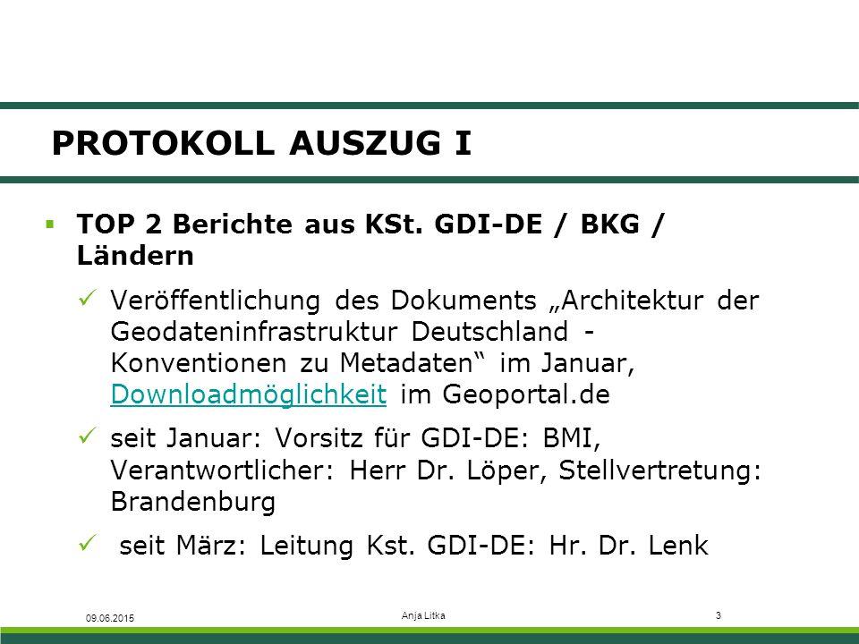 Anja Litka4 PROTOKOLL AUSZUG II  TOP 5.1 Status-Update: SDS-Verpflichtungen Klassifikation als Spatial Data Services (SDS), z.B.