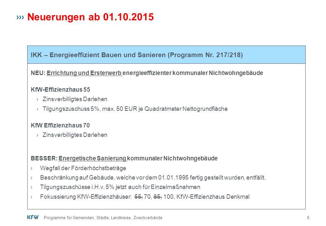 6 Neuerungen ab 01.10.2015 NEU: Errichtung und Ersterwerb energieeffizienter kommunaler Nichtwohngebäude KfW-Effizienzhaus 55 › Zinsverbilligtes Darle