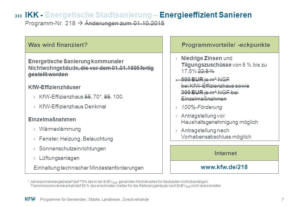 7 IKK - Energetische Stadtsanierung – Energieeffizient Sanieren Programm-Nr. 218  Änderungen zum 01.10.2015 www.kfw.de/218 › Niedrige Zinsen und Tilg