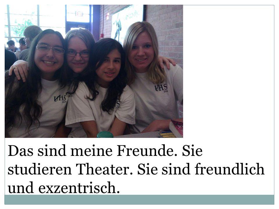 Das sind meine Freunde. Sie studieren Theater. Sie sind freundlich und exzentrisch.
