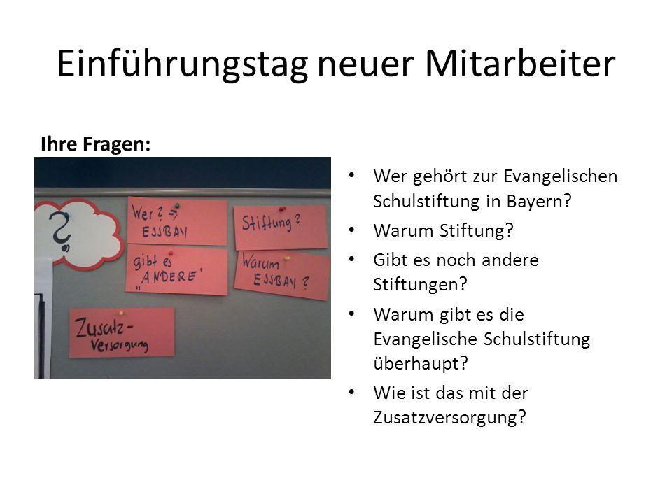 Einführungstag neuer Mitarbeiter Ihre Fragen: Wer gehört zur Evangelischen Schulstiftung in Bayern.