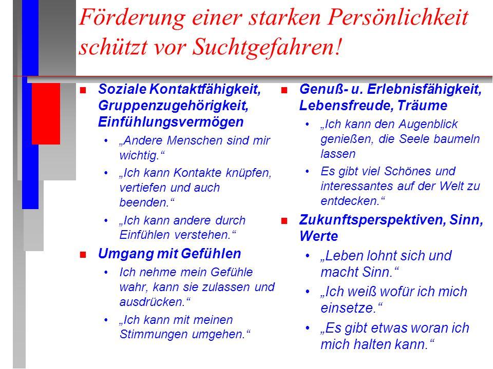 """Förderung einer starken Persönlichkeit schützt vor Suchtgefahren! n Soziale Kontaktfähigkeit, Gruppenzugehörigkeit, Einfühlungsvermögen """"Andere Mensch"""
