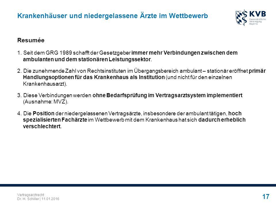 Vertragsarztrecht Dr. H. Schiller | 11.01.2016 17 Krankenhäuser und niedergelassene Ärzte im Wettbewerb Resumée 1. Seit dem GRG 1989 schafft der Geset