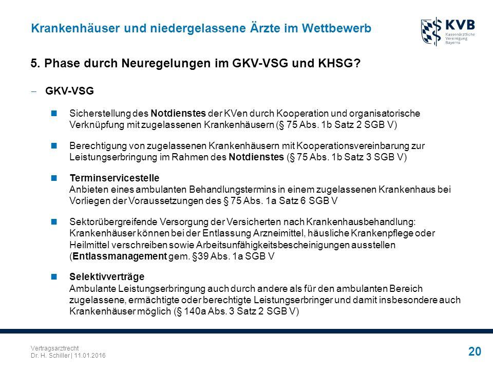 Vertragsarztrecht Dr. H. Schiller | 11.01.2016 20 Krankenhäuser und niedergelassene Ärzte im Wettbewerb  GKV-VSG Sicherstellung des Notdienstes der K