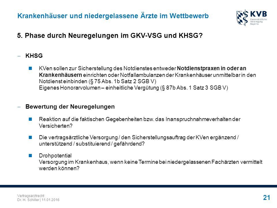 Vertragsarztrecht Dr. H. Schiller | 11.01.2016 21 Krankenhäuser und niedergelassene Ärzte im Wettbewerb  KHSG KVen sollen zur Sicherstellung des Notd